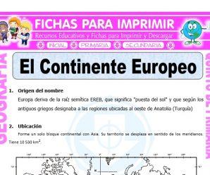 El Continente Europeo para Quinto de Primaria