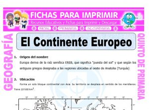 Ficha de El Continente Europeo para Quinto de Primaria