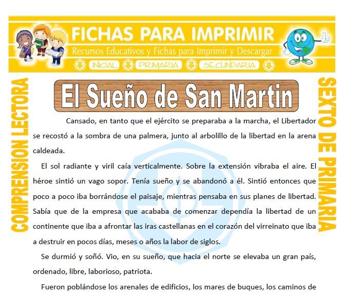 Ficha de El Sueño de San Martin para Sexto de Primaria