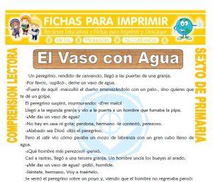 Ficha de El Vaso con Agua para Sexto de Primaria