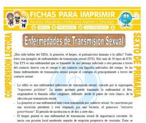 Ficha de Enfermedades de Transmision Sexual para Quinto de Primaria