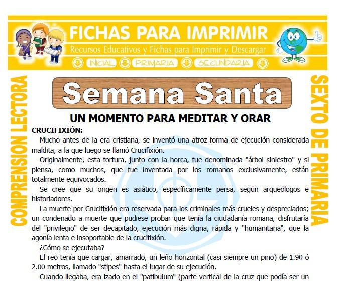 Ficha de Semana Santa para Sexto de Primaria