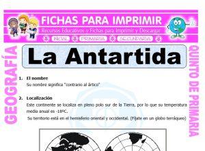 Ficha de La Antártida para Quinto de Primaria