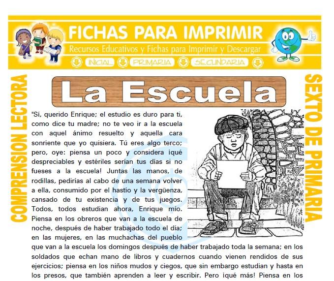 Ficha de La Escuela para Sexto de Primaria