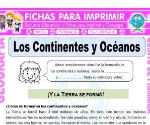 Los Continentes y Océanos para Quinto de Primaria