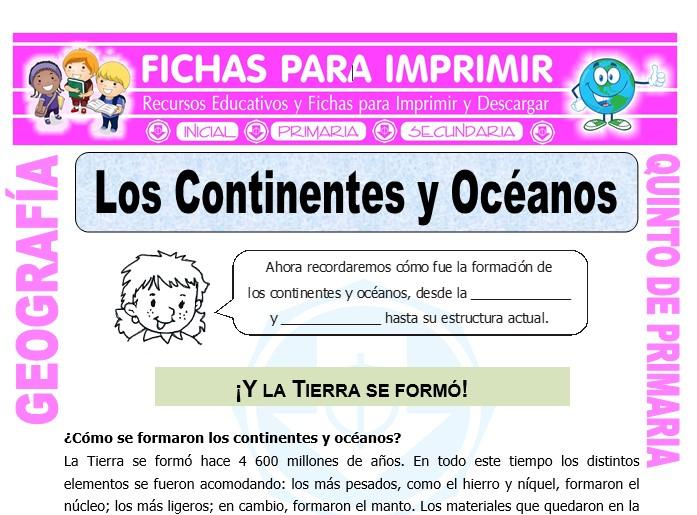 Ficha de Los Continentes y Océanos para Quinto de Primaria