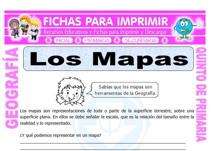 Ficha de Los Mapas para Quinto de Primaria