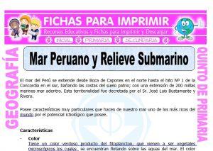 Ficha de Mar Peruano y Relieve Submarino para Quinto de Primaria