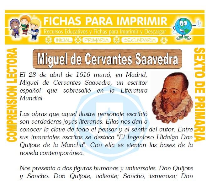Miguel de Cervantes Saavedra para Sexto de Primaria