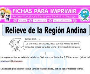 Relieve de la Región Andina para Quinto de Primaria