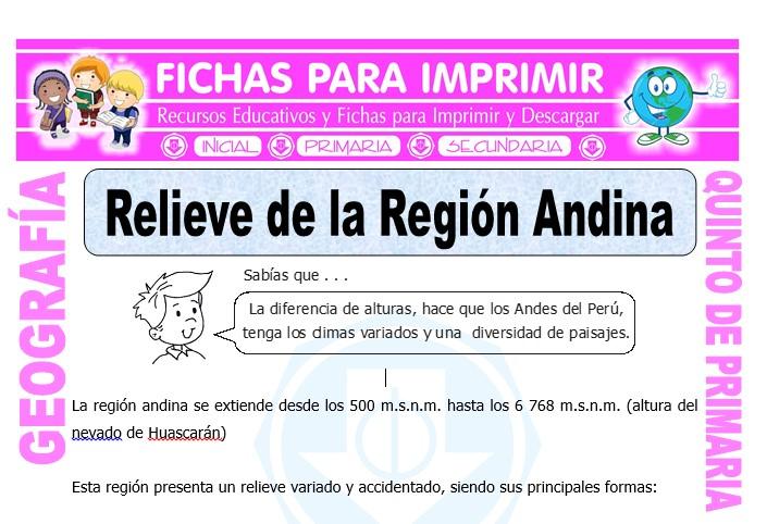Ficha de Relieve de la Región Andina para Quinto de Primaria