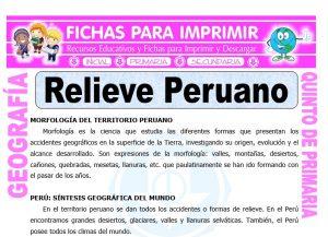 Relieve Peruano para Quinto de Primaria