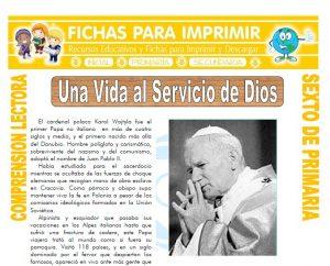Ficha de Una Vida al Servicio de Dios para Sexto de Primaria