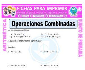 Ficha de Actividades de Operaciones Combinadas para Quinto de Primaria