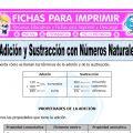 Adición y Sustracción con Números Naturales para Quinto de Primaria