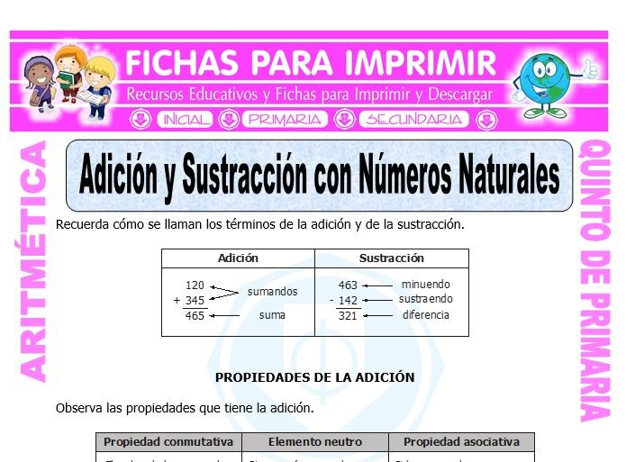 Ficha de Adición y Sustracción con Números Naturales para Quinto de Primaria