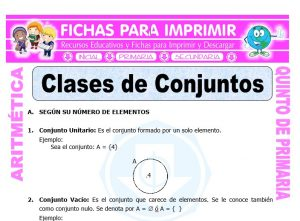 Ficha de Clases de Conjuntos para Quinto de Primaria