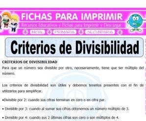 Criterios de Divisibilidad para Quinto de Primaria