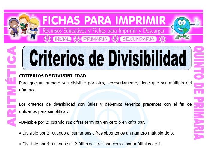 Ficha de Criterios de Divisibilidad para Quinto de Primaria