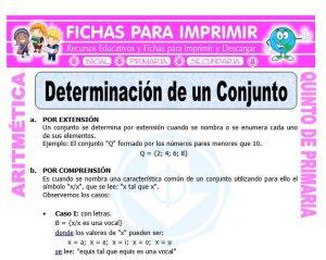 Ficha de Determinación de un Conjunto para Quinto de Primaria