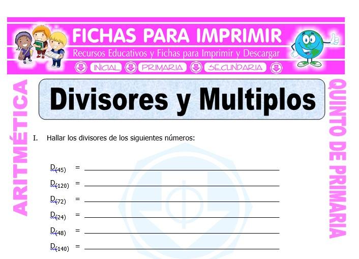 Ficha de Divisores y Múltiplos para Quinto de Primaria