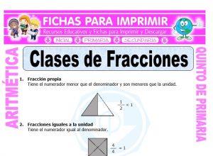 Ficha de Ejercicios de Clases de Fracciones para Quinto de Primaria