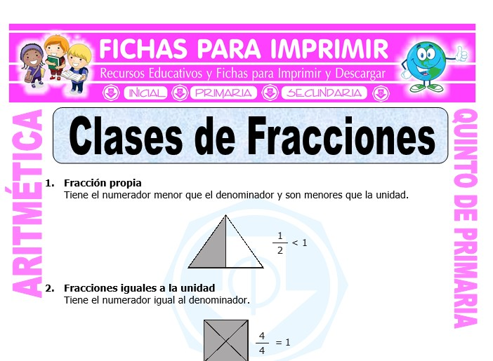 Ejercicios de Clases de Fracciones para Quinto de Primaria ...