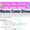 Ejercicios de Maximo Comun Divisor para Quinto de Primaria