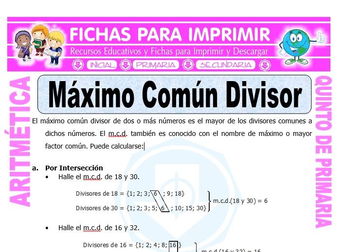 Ficha de Ejercicios de Maximo Comun Divisor para Quinto de Primaria