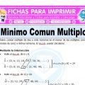 Ejercicios de Minimo Comun Multiplo para Quinto de Primaria