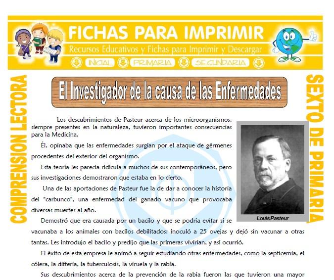 Ficha de El Investigador de la Causa de las Enfermedades para Sexto de Primaria