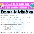 Examen de Aritmética para Quinto de Primaria