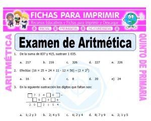 Ficha de Examen de Aritmética para Quinto de Primaria