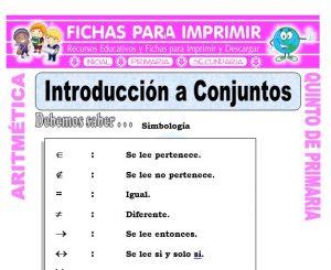 Ficha de Introducción a Conjuntos para Quinto de Primaria