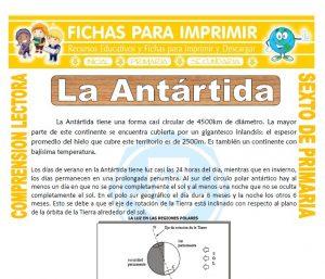 Ficha de La Antártida para Sexto de Primaria