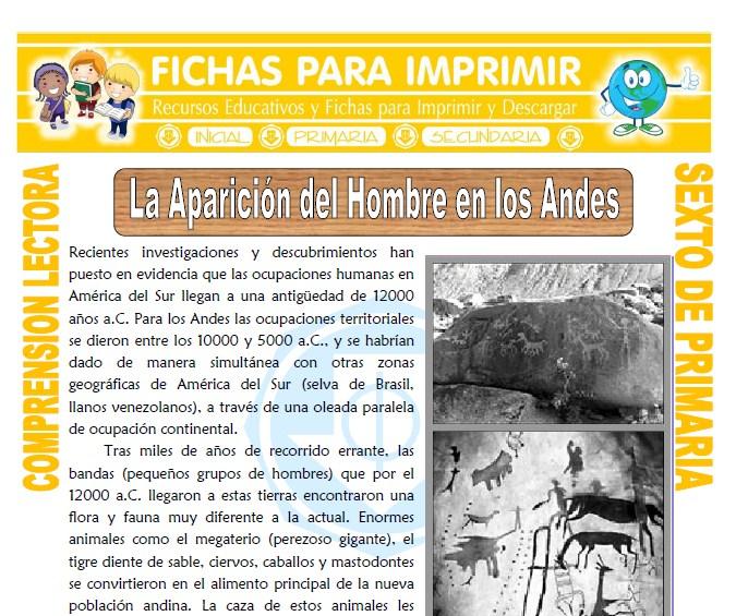 Ficha de La Aparición del Hombre para Sexto de Primaria