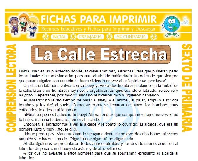 Ficha de La Calle Estrecha para Sexto de Primaria