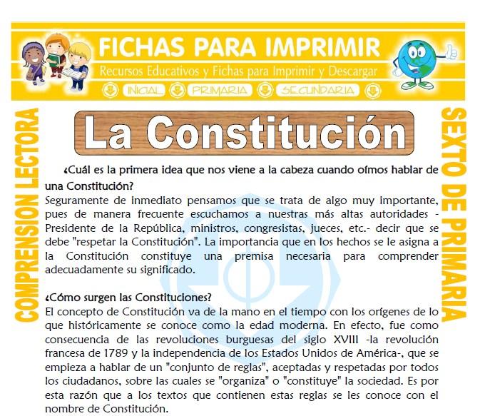 Ficha La Constitución para Sexto de Primaria