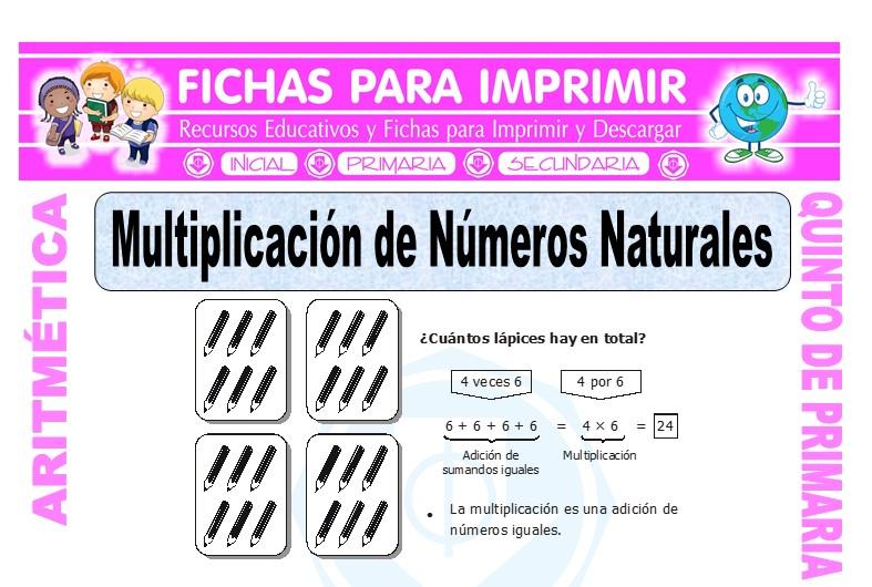 Ficha de Multiplicación de Números Naturales para Quinto de Primaria