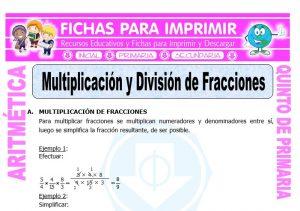Ficha de Multiplicación y División de Fracciones para Quinto de Primaria