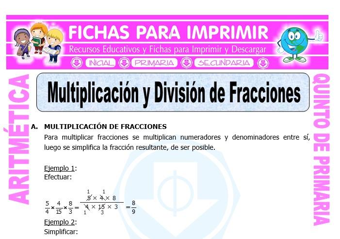 Multiplicación y División de Fracciones para Quinto de Primaria - Fichas
