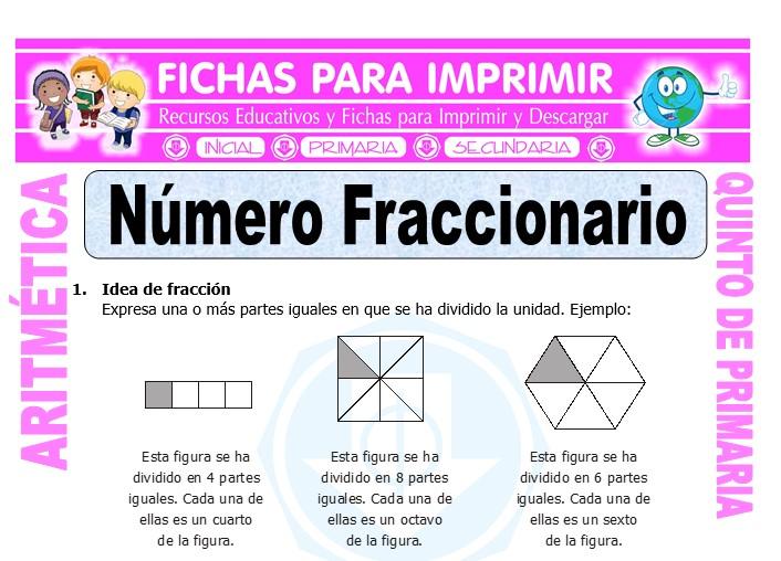 Ficha de Número Fraccionario para Quinto de Primaria
