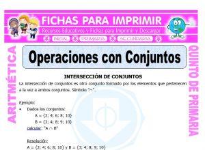 Ficha de Operaciones con Conjuntos para Quinto de Primaria