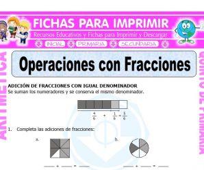 Operaciones con Fracciones para Quinto de Primaria