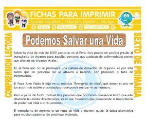 Ficha de Podemos Salvar una Vida para Sexto de Primaria