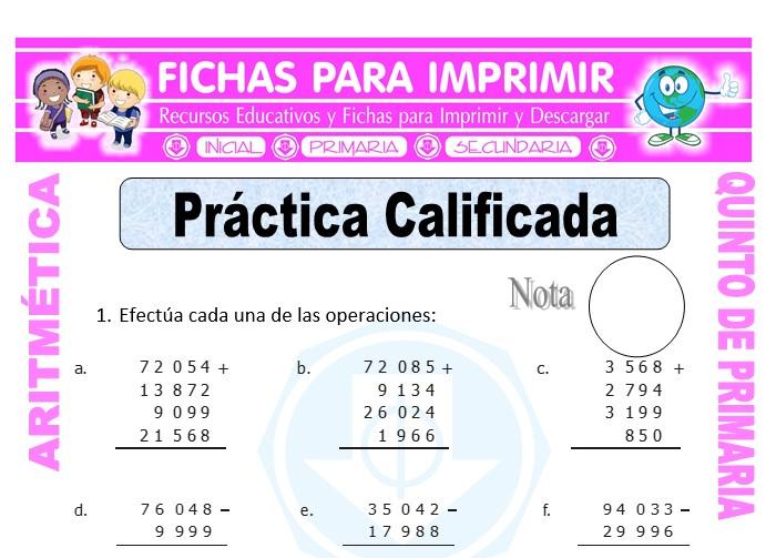 Ficha de Práctica Calificada para Quinto de Primaria