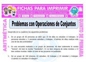 Ficha de Problemas con Operaciones de Conjuntos para Quinto de Primaria