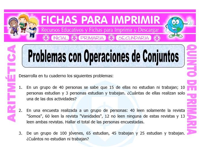 Problemas Con Operaciones De Conjuntos Para Quinto De Primaria Fichas