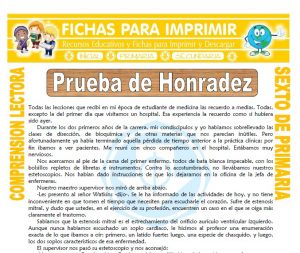 Ficha de Prueba de Honradez para Sexto de Primaria