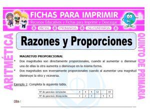 Ficha de Razones y Proporciones para Quinto de Primaria
